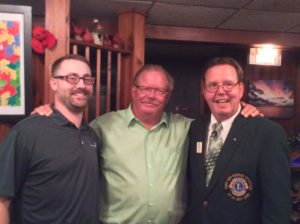 Lion Treasurer Paul Loveland, left, Lion Secretary Steve Huth, and Lion District Gov. John Elvverkrog.