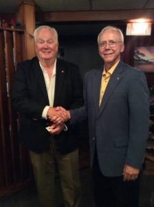 Incoming Lion President Dennis Steed and outgoing Lion President Blaine Vance.
